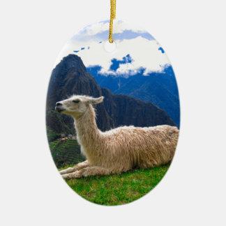 Llama en Machu Picchu Adorno Ovalado De Cerámica