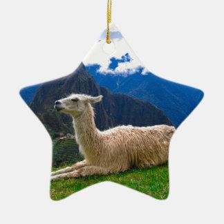 Llama en Machu Picchu Adorno De Cerámica En Forma De Estrella
