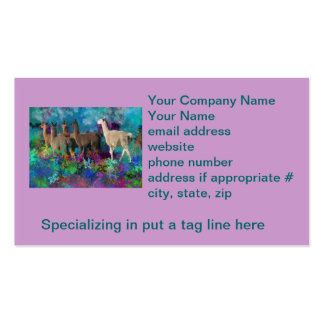 Llama Five Walk in Fantasy Land for Camelids Business Card Templates