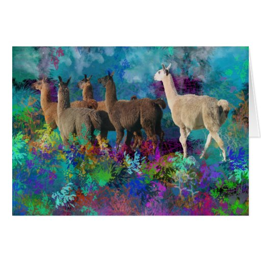 Llama Five Walk in Fantasy Land for Camelids Stationery Note Card