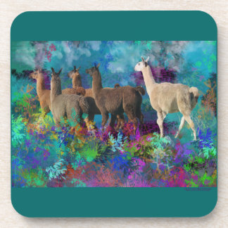Llama Five Walk in Fantasy Land for Camelids Coasters