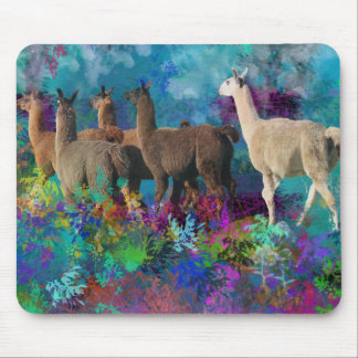 Llama Five Walk in Fantasy Land for Camelids Mouse Pad