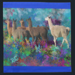 """Llama Five Walk in Fantasy Land for Camelids Napkin<br><div class=""""desc"""">Llama Five Walk in Fantasy Land for Camelids Five llamas stroll through land of fluorescent flowers and transparent plants while pterodactyl-like birds take off from mysterious moon-lit waters. As the llamast walk,  they kicks up stars. There is magic in the air</div>"""