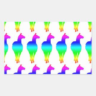 Llama (front facing, rainbow) rectangular sticker
