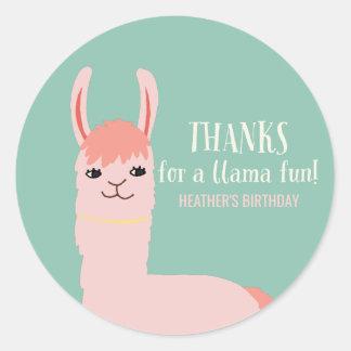 Llama Fun Birthday Party Thank You Classic Round Sticker