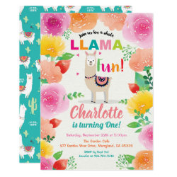 Llama fun first 1st birthday invitation. Foloral Invitation