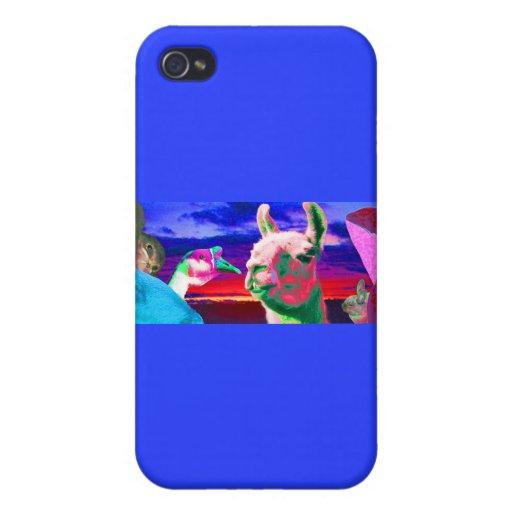 Llama, ganso, orca, cabra, montaje del conejito iPhone 4 protectores
