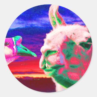 Llama, ganso, orca, cabra, montaje del conejito etiqueta redonda
