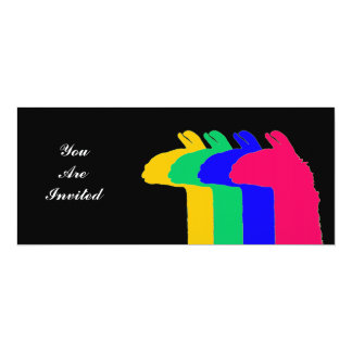 Llama Gifts: 4 Llamas in 4 LLama colors graphic Custom Announcement