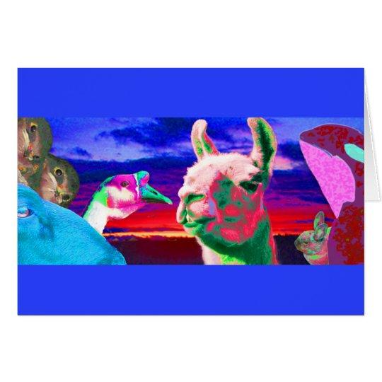 Llama, Goose, Orca, Goat, Bunny Montage Card