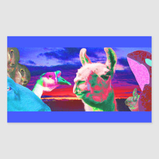Llama, Goose, Orca, Goat, Bunny Montage Rectangular Sticker