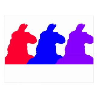 Llama Graphic: 3 llamas Blue, Red, Purple Postcard