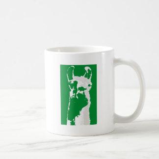 llama head in emerald green coffee mugs