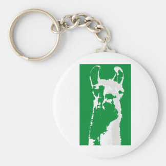 llama head in emerald green keychain