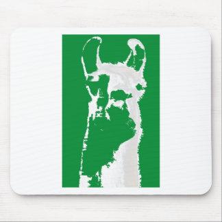llama head in emerald green mouse pad