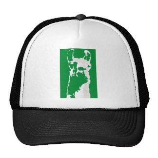 llama head in emerald green trucker hat