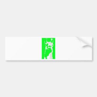 llama head in lime green bumper sticker