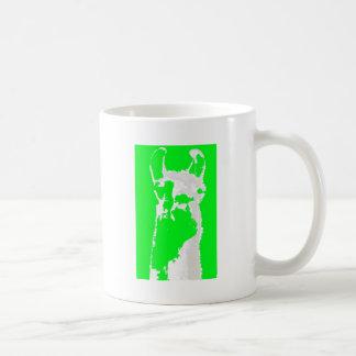 llama head in lime green coffee mugs