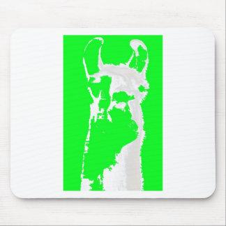 llama head in lime green mousepads