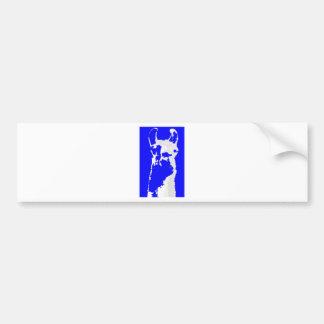 llama head in marine blue bumper sticker