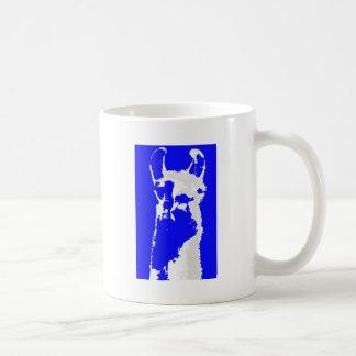 llama head in marine blue coffee mug