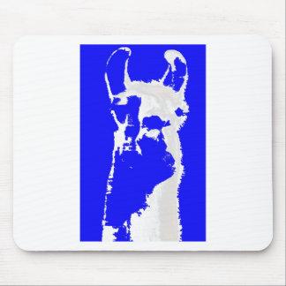 llama head in marine blue mousepads