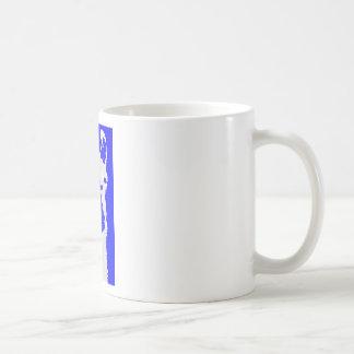 llama head in marine blue mugs