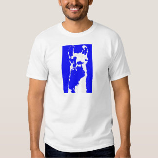 llama head in marine blue shirt