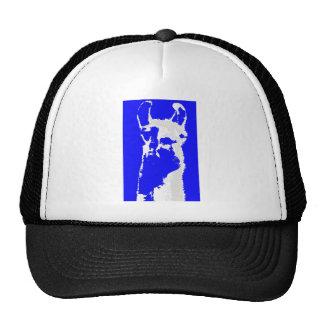 llama head in marine blue trucker hat