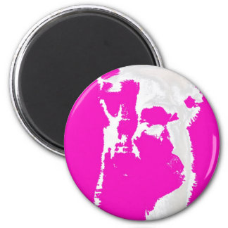 Llama head in pink 2 inch round magnet
