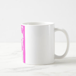 Llama head in pink coffee mugs