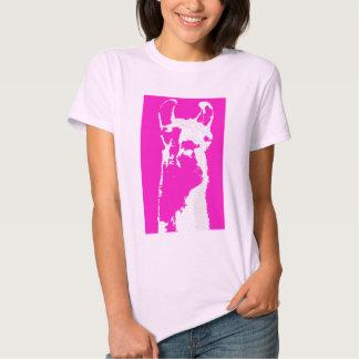 Llama head in pink tee shirt