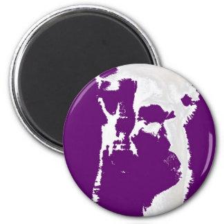 llama head in purple 2 inch round magnet