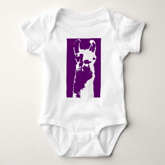 llama head in purple baby bodysuit