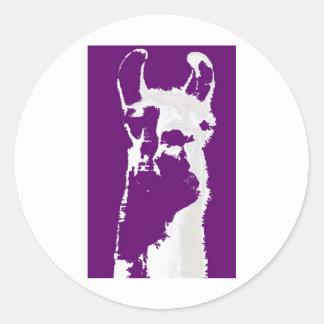 llama head in purple round sticker
