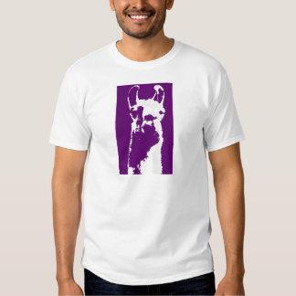 llama head in purple tee shirt