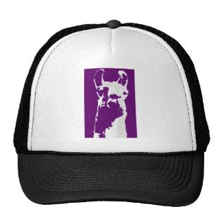 llama head in purple trucker hat