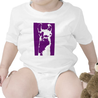 llama head in purple baby bodysuit
