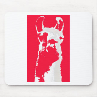 Llama head in RED Mouse Pad