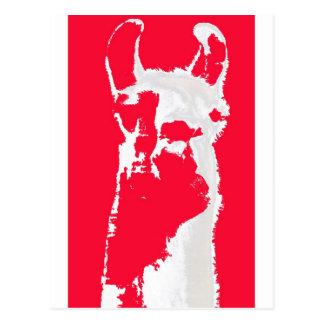 Llama head in RED Postcard