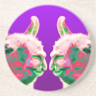 Llama Heads in a Bright Contemporary Graphic Beverage Coasters