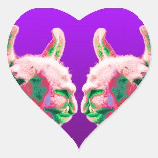 Llama Heads in a Bright Contemporary Graphic Heart Sticker