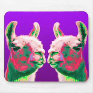 Llama Heads in a Bright Contemporary Graphic Mouse Pad