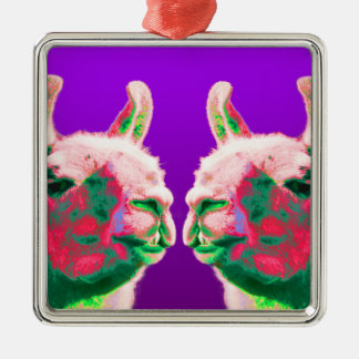Llama Heads in a Bright Contemporary Graphic Christmas Ornaments