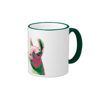 Llama Heads in a Bright Contemporary Graphic Ringer Mug