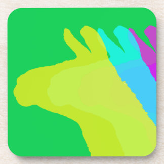 Llama Heads in Bright Bold Graphic Colors Drink Coasters
