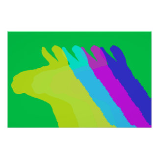 Llama Heads in Bright Bold Graphic Colors Poster