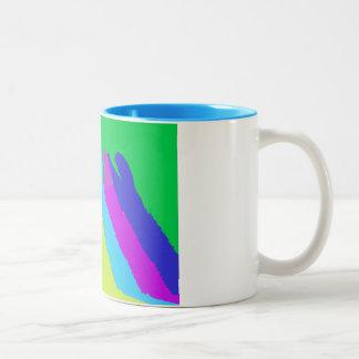 Llama Heads in Bright Bold Graphic Colors Two-Tone Coffee Mug