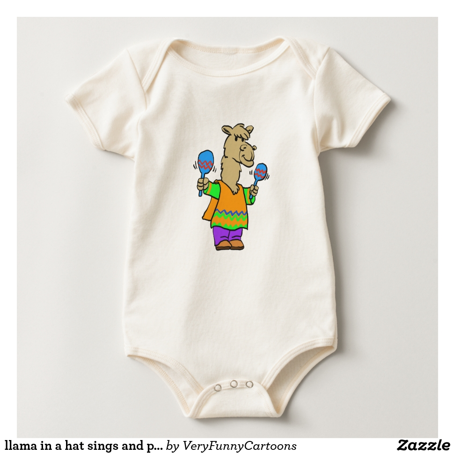 llama in a hat sings and plays on maracas baby bodysuit - Adorable Baby Bodysuit Designs