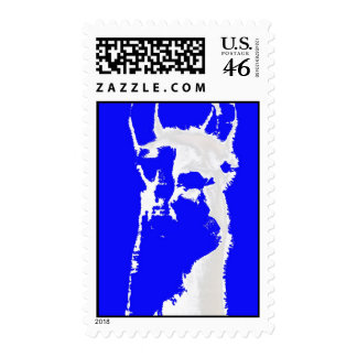 LLama in blue postage stamp